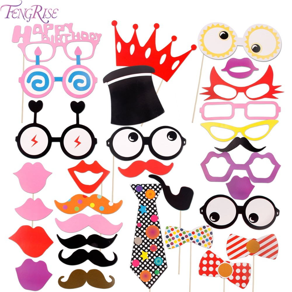 Big happy birthday badges party products party delights - Fengrise Birthday Photo Booth Props 16th 30th 40th 50th 1st Birthday Party Decoration Kids Baby Shower