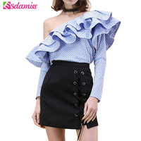 One Shoulder Ruffle Blouses And Shirts Women 2016 Elegant Blue Striped Off Shoulder Tops Female Shirt