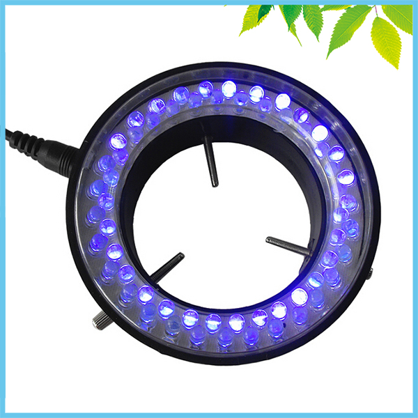 395~400nm 60 PCS LED Microscope UV Ring Light Purple Color Ring Lamp with Adapter 110V-240V for Microscope Illumination 365 wavelength purple microscope fluorescent light microscope led ring 60mm light source led lamp fluorescent tube working lamp