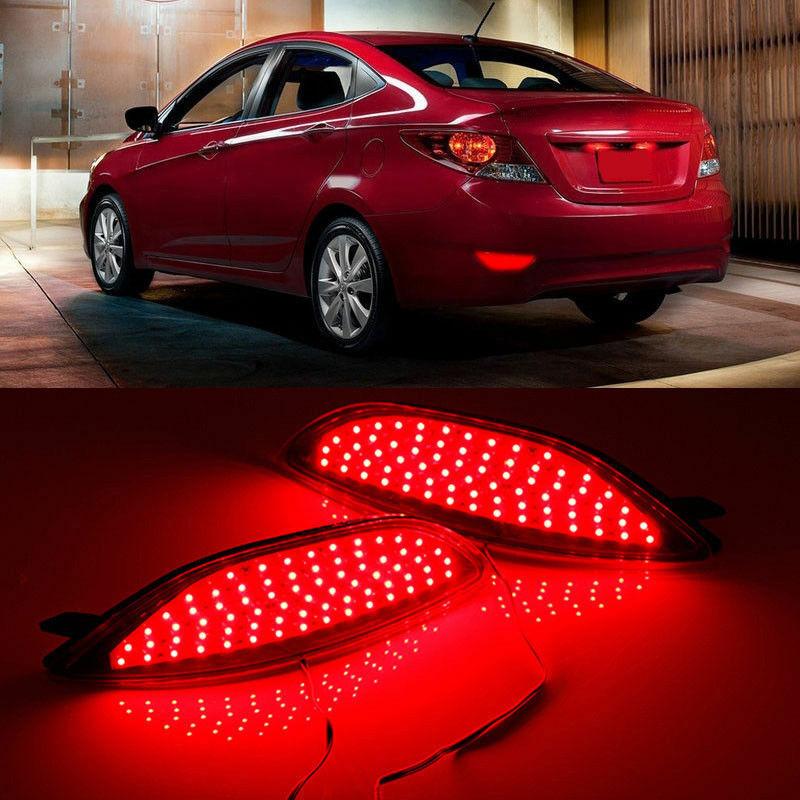 OKEEN 2pcs Rear Bumper Reflectors Lights for Hyundai Accent Hyundai Accent Verna Solaris 2008 2015 LED
