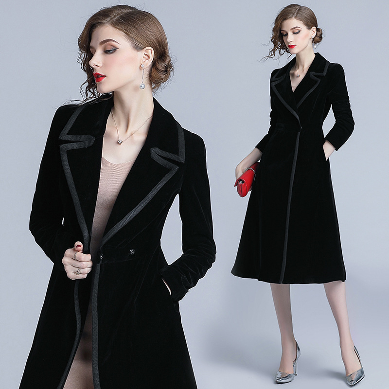 Denim   trench   coat for women luxury office business coats woman winter 2018 autumn trending female ladies trenchcoat KK2710 X