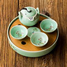 lotus flowers Longquan celadon hand-painted pattern Round Mini-ceramic tea tray bamboo surface water storage water kung fu tea p