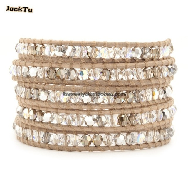 2017 summer wholesale geey crystal with AB crystal leather  wrap bracelet