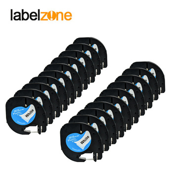 20 PK/lot DYMO Letratag plastic tape 12mm black on white LT 91331 91201 for dymo LT printer