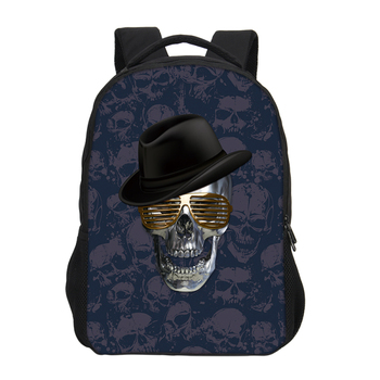 Canvas Skull Print Backpacks Cool Rock Shoulder Travel Bags