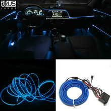 JURUS 5M Car lights 12V El Wire Flexible Rope Neon Car Tube Line Glow Salon Flat Auto Led Strips Ambient Light Pathway Lighting