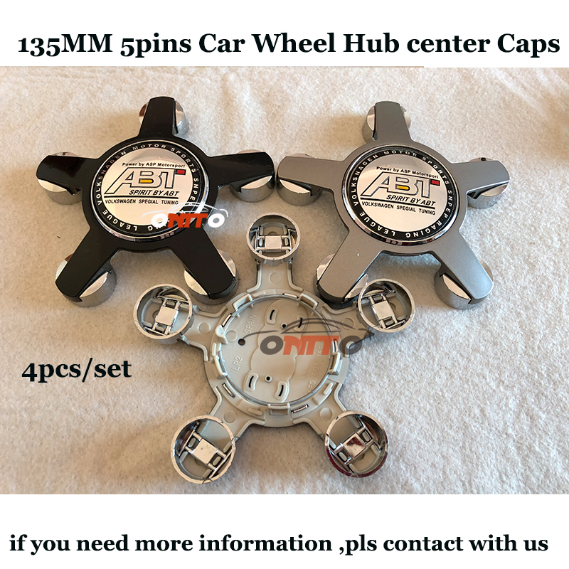 For VW Automobile Model 135MM 5PINS Clips Car Wheel hub center caps Color Silvery Black ABT