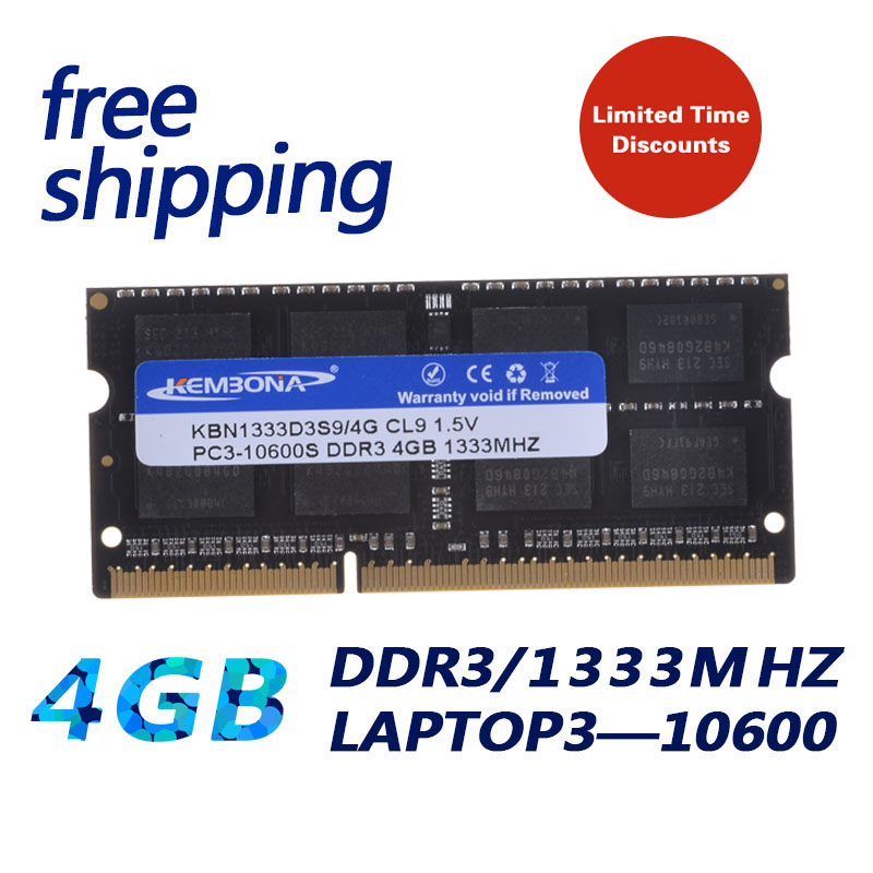 KEMBONA brand new laptop notebook ddr3 4gb pc10600 1333mhz ddr ram memory 204pin ,free shipping kembona 204pin brand new sealed ddr3 1333 pc3 10600 4gb laptop ram compatible with all motherboard 16chips free shipping
