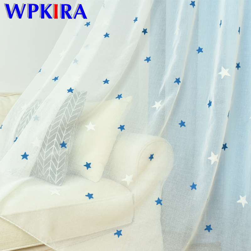 Blue Stars Embroidered Tulle Curtain For Kids Children Bedroom High Quality White Sheer Tulle For Living Room Customize WP300D3