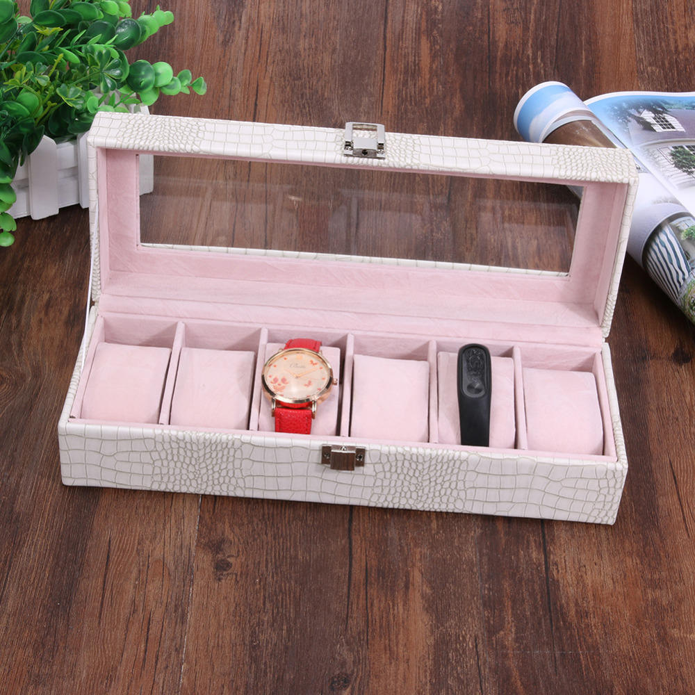 Hight Quality PU Watch Box Display Jewelry Watch Box Organizer Holder Accessories Crocodile Texture for Save 6 Wrist Watches