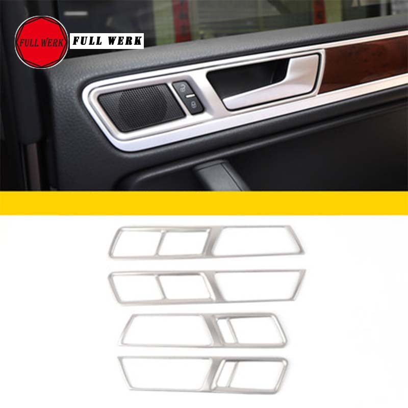 Set of 4pcs Car Styling Inner Door Handle Trim Decoration Sticker Cover for VW Touareg 2011 2012 2013 2014 2015 2016 2017 2018 for mitsubishi outlander 2013 2014 2015 2016 car styling door s armrest panel cover decoration trim leather skin