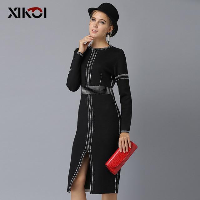 XIKOI Casual Women Knitting Dress Black MIDI O-Neck Fashion Hem Split Ladies Women's dresses Knee-Length Graceful 2019 Spring