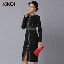 XIKOI Casual Women Knitting Dress Black MIDI O-Neck Fashion Hem Split Ladies Women's dresses Knee-Length 2018