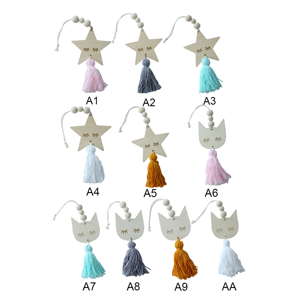 Wooden Beads Tassel Pendant Nordic Style Cute Star Cat Shape Kids Room Decoration Wall Hanging Ornament for Photography Props