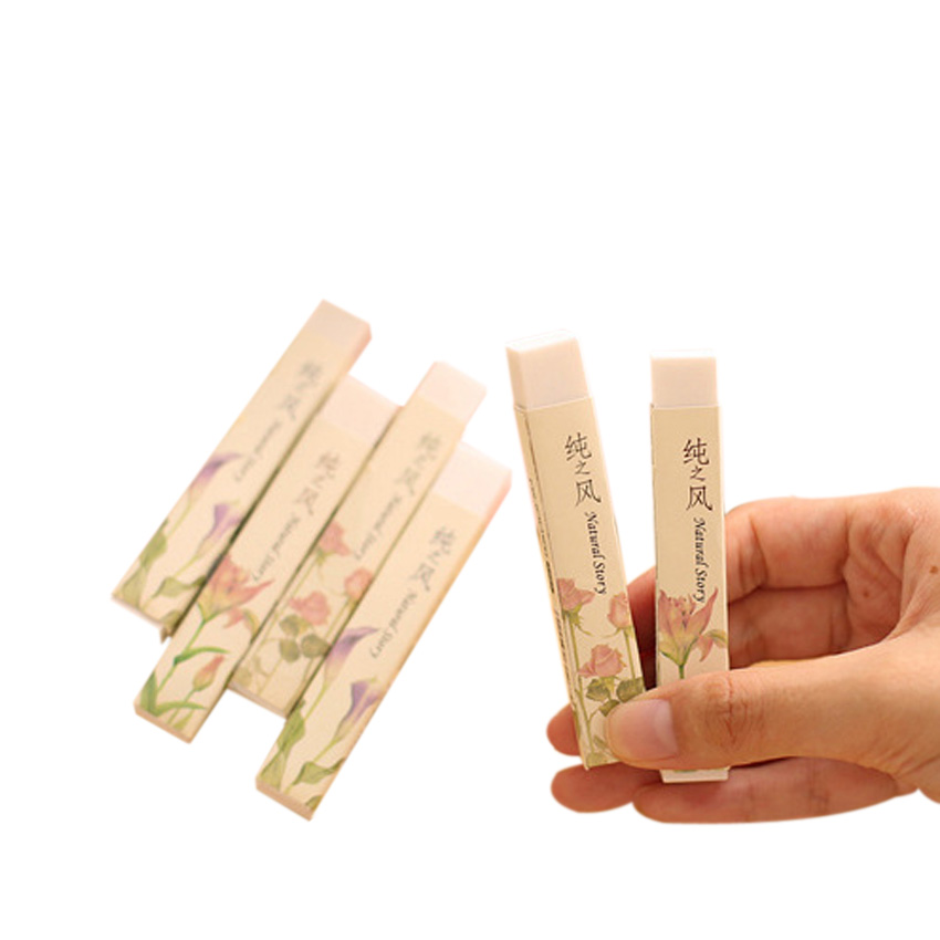 30pcs/lot Cute Korea Pure Wind Strip Rubber Pencil Eraser Students Stationery Kid Gifts School Supplies