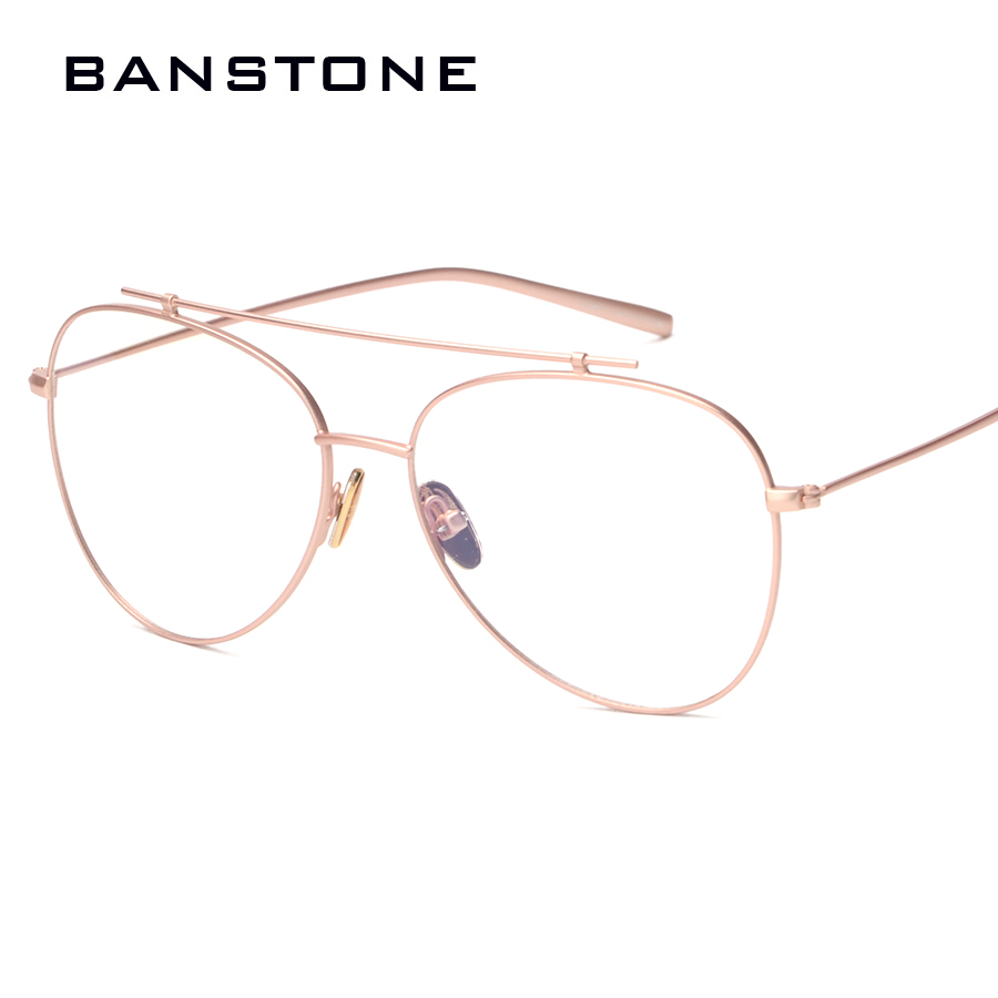 banstone brand designer clear glasses women rose gold eyeglass frame men vintage eyewear gold frame glasses