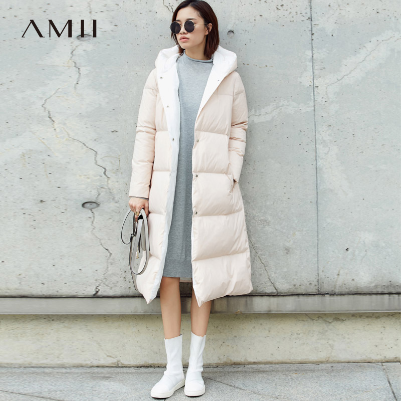 Amii Minimalist Hoodie   Down     Coat   Women Winter 2018 Casual 90% White Duck Light Waterproof Female Plus size Long   Down   Jackets