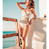 J.DeL'or women's lace swimwear, slim waist chest gathering design