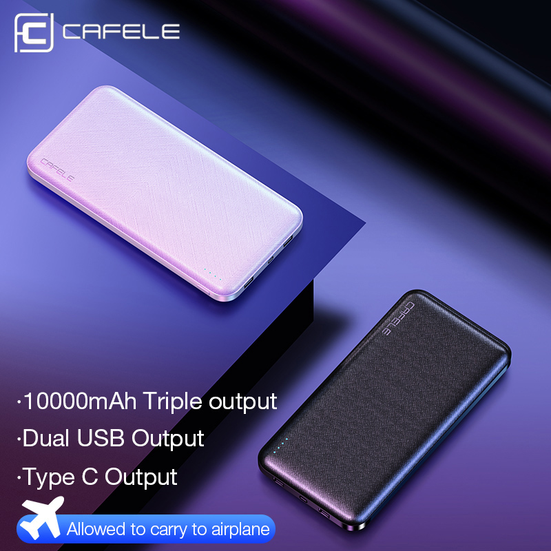 CAFELE 10000mAh Power Bank Triple Output Portable Mobile Phone Charger External Battery For IPhone Samsung Huawei Xiaomi Oneplus(China)