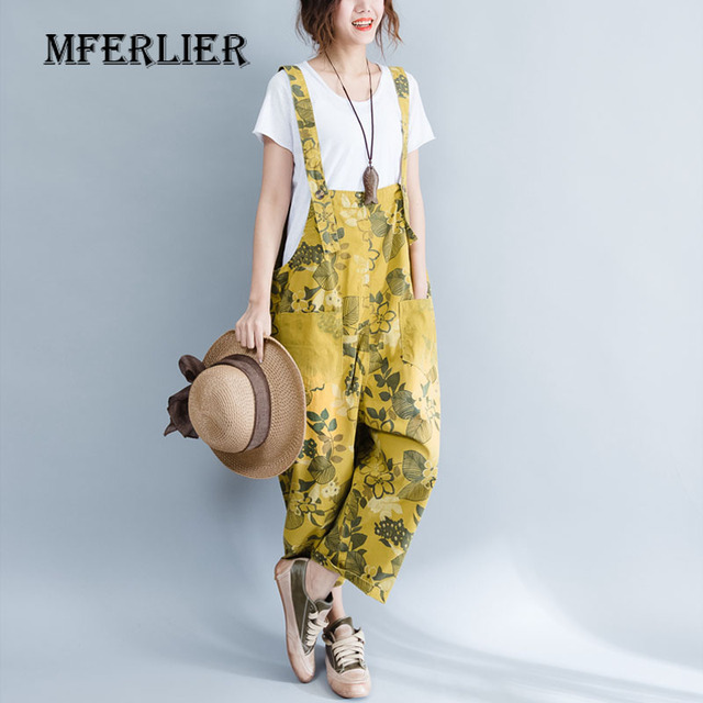 254006013 Women Overalls Summer Vintage Floral Print Loose Casual Rompers Button Belt  Hollow Out Pocket Ankle-Length Womens Jeans Denim