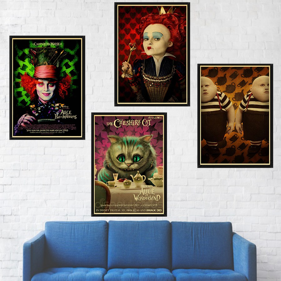 Alice In Wonderland Movie Retro Art Poster Print Cheshire Cat Wall Pictures For Children's Room Decor Wall Sticker