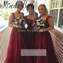 Burgundy Bridesmaid Dresses Bruidsmeisje Jurk Appliques Party Dresses Robe Demoiselle D'honneur Wedding Party Guest Gown