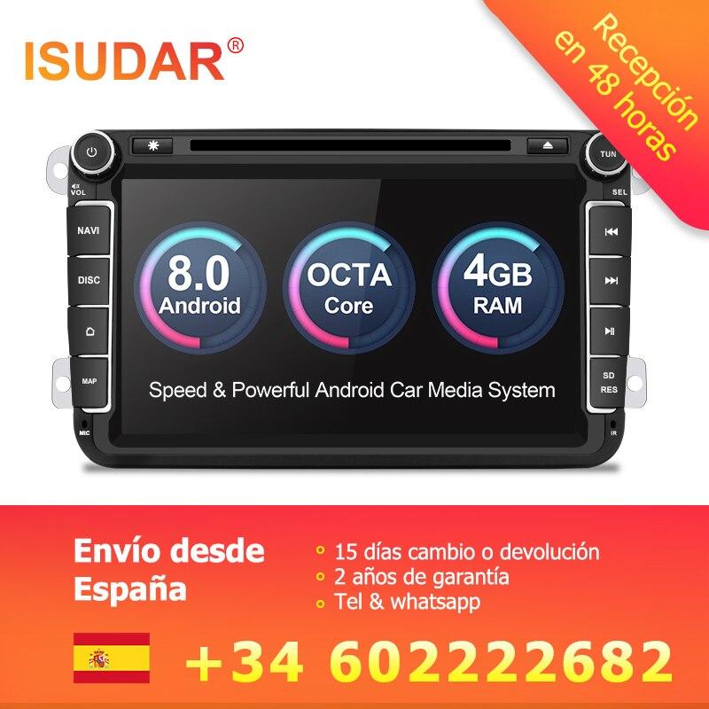 Isudar Voiture Multimédia lecteur GPS Android 8.0 2 Din Pour VW/Volkswagen/POLO/PASSAT/Golf Arrière vue caméra Écran Tactile Capacitif