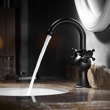 Basin Faucets Dual Handle Vessel Sink Mixer Tap Bathroom Brass Basin Mixer Tap Black Bronze Faucet Hot and Cold Water Crane