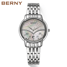 Berny New Brand Fashion Women's Watches Quartz Watch Dress Ladies Casual Sports Wristwatch Stainless Steel Strap 2755L