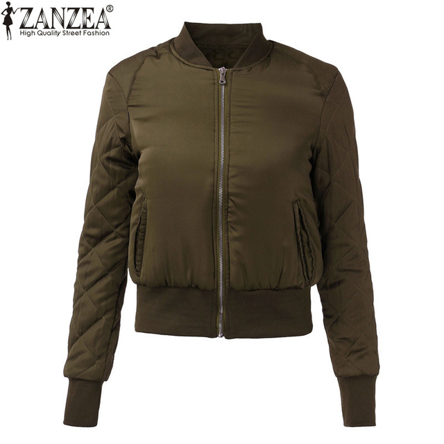 ZANZEA 2017 Mulheres Moda Inverno Quente Casaco Acolchoado Com Zíper Estande Colarinho Fino Acolchoado Jaqueta Bomber Curto Casacos Top 6 Cores