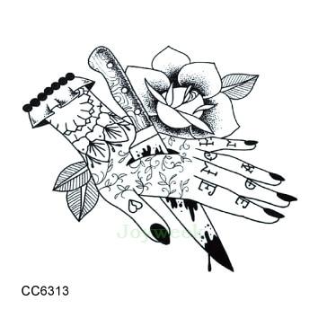 Waterproof Temporary Tattoo Sticker Dagger Stab Hand Vintage Old School Tatto Stickers Flash Tatoo Fake Tattoos For Men Women