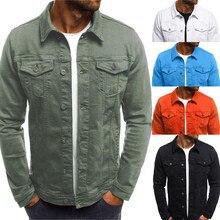 Для Мужчин's осень-зима Кнопка Твердые Цвет Винтаж джинсовая куртка Топы; пальто стильный дизайн моды Прямая доставка