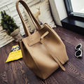 High Quality Womens Shoulder Bag PU Leather Large Capacity Female Shopping Bag Vintage Lace Up Hasp Composite Bag