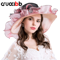 CRUOXIBB 2017 Fashion Women S Brim Wedding Dress Church Hats Design Flower Yarn Hat Summer For