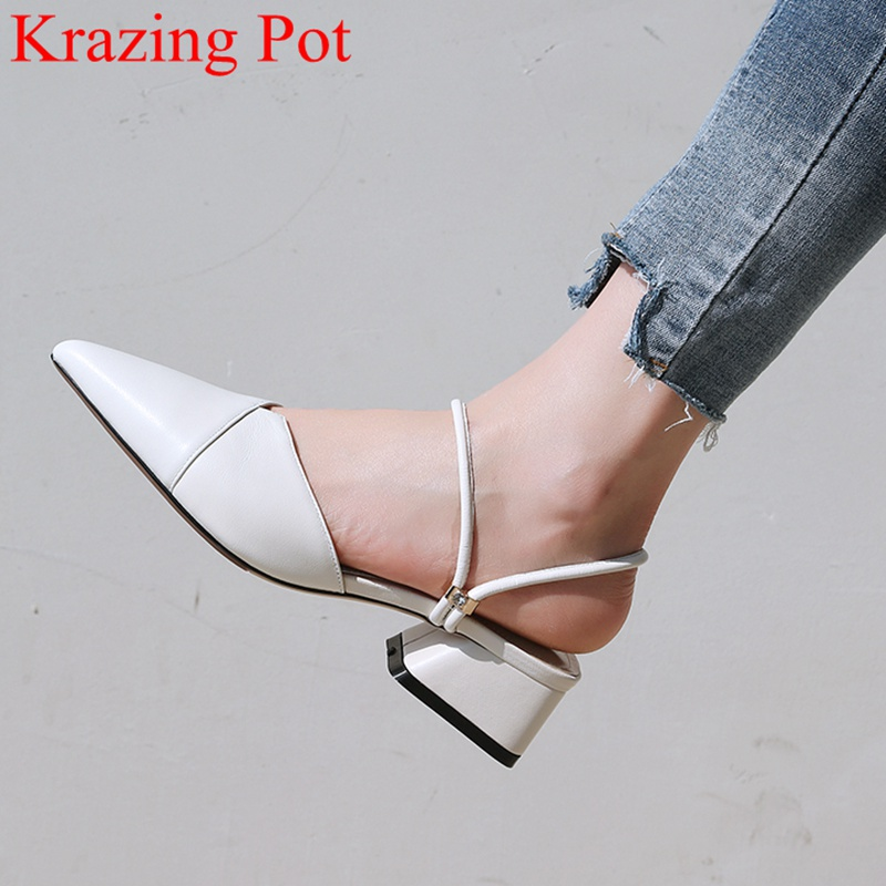 2019 fashion genuine leather summer shoes slingback square heel women sandals pointed toe mules wedding casual