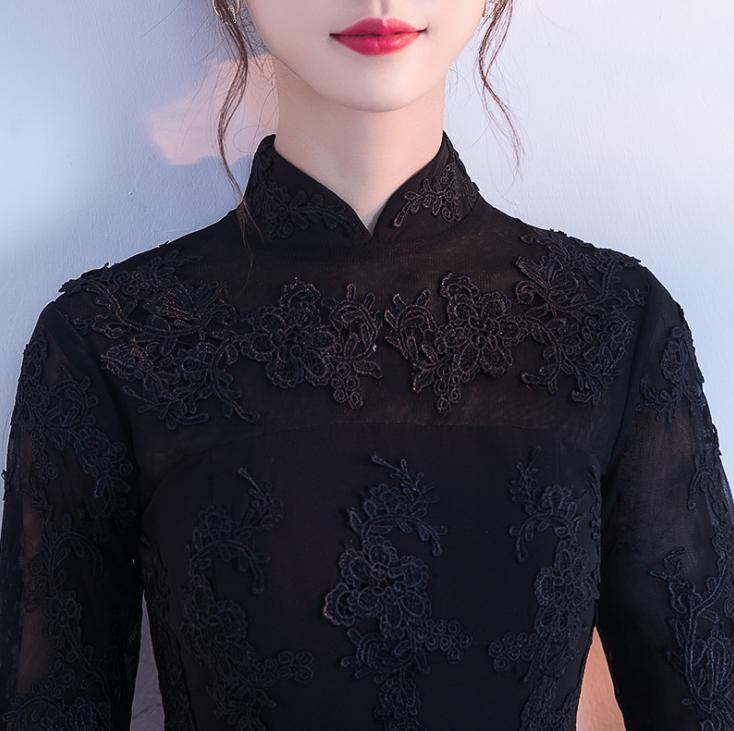 BANVASAC High Neck Lace Appliques Half Sleeve Mermaid Long Evening Dresses 2018 Black Zipper Back Party Prom Gowns in Evening Dresses from Weddings Events