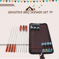 7Pcs/Set BBQ Skewers Tool Thicken Wooden Handle Outdoors SUS 304 Stainless Steel Scald Househould Kitchen Utensils Multifunction