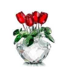 H & D Crystal Red Rose Bloem Beeldje Lente Boeket Sculptuur Glas Dromen Ornament Thuis Bruiloft Decor Collectible Gift Souvenir