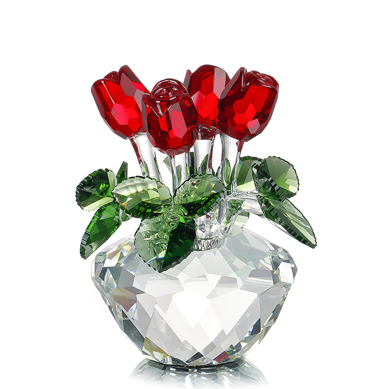 H&D Souvenir Gift Crystal Red Rose Flower Figurine Spring Bouquet Sculpture Ornaments Gift Boxed Home Wedding Decor Favors