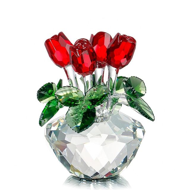 H & D сувенирный подарок для Дня матери красная роза декоративная фигурка Весенний букет хрустальные цветы подарок-коробочный домашний Свадебный декор