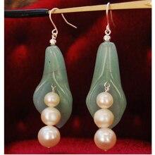 New Arriver Pearl Green Jades Jewellery,Freshwater Round Pearls Pea Pot Princess Earrings,925 Silver Dangle Earrings Hook