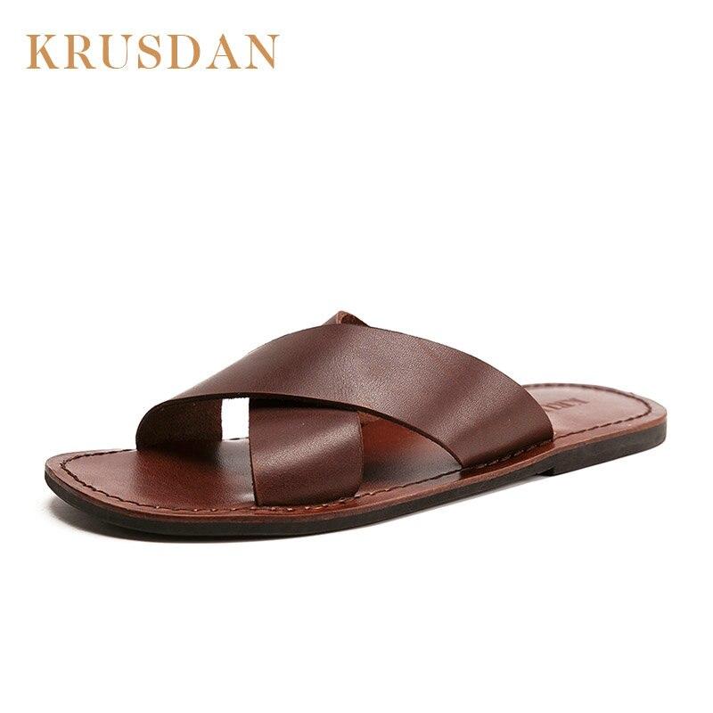 Casuales De Para Zapatillas Talla 44 Sandalias Verano Hombre Vaca Playa Cuero Chanclas 38 Zapatos Moda roCdBex
