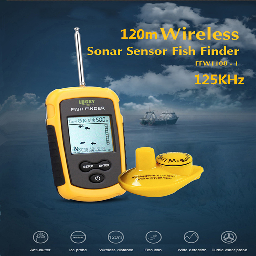 LUCKY FFW1108 - 1 120m Wireless Fish Finder Sonar Sensor Transducer Echo Sounder Alarm Detector For Fishing 125kHz FishfinderLUCKY FFW1108 - 1 120m Wireless Fish Finder Sonar Sensor Transducer Echo Sounder Alarm Detector For Fishing 125kHz Fishfinder