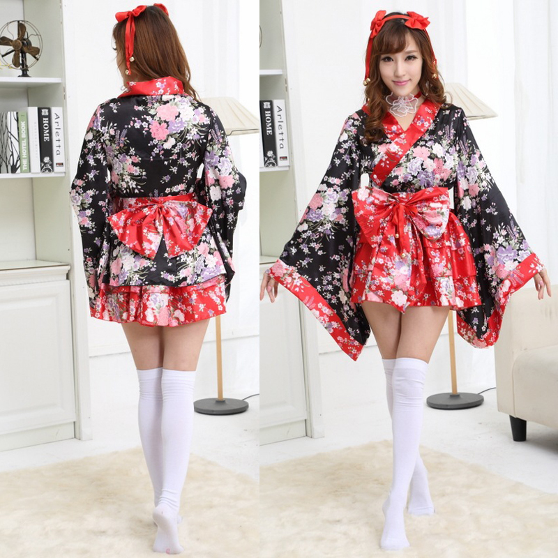 Red Cherry Blossoms Kimono Dresses Halloween Heavy Sakura Cosplay Anime Costume Traditional Japanese Kimono Lolita Women Dress