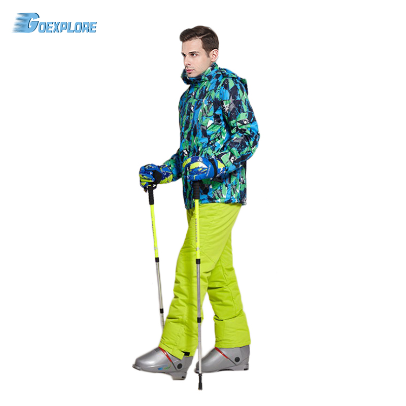 30 Skiing Sets Waterproof Windproof Thicken Outdoor Snow Clothes Ski Sets Jackets Goexplore Snowboard Suit Men Pants For Male