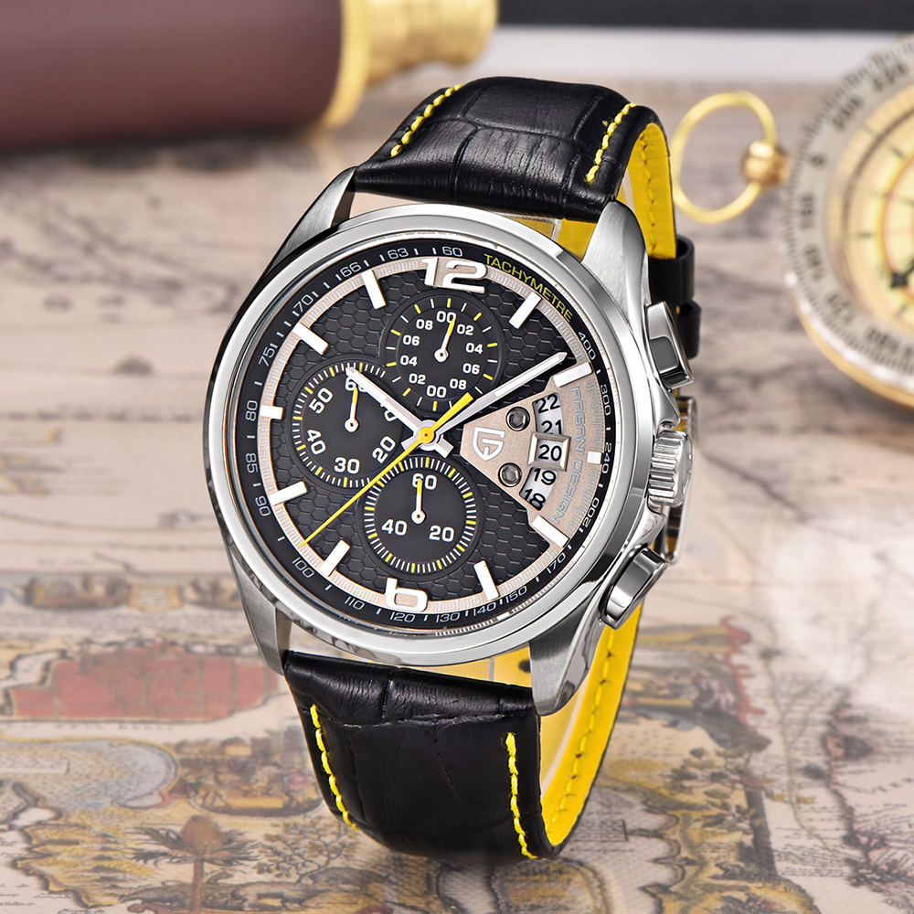 Men Watches PAGANI DESIGN Luxury Brand Multifunction Men Chronograph Casual Sport Watches Leather Quartz Watch Relogio Masculino-in Quartz Watches from Watches    2