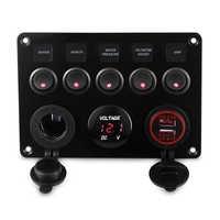 Led Marine Boot Switch Panel 12 v 24 v 6 Gang Wasserdicht Auf-Off Toggle Panel Schalter USB Ladegerät buchse Voltmeter 12 v Steckdose