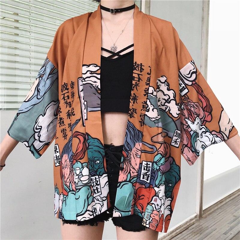 Nouveau japonais Harajuku femmes fille Kimono Cardigan Blouses hauts décontracté impression à lacets Protection solaire vêtements manteau