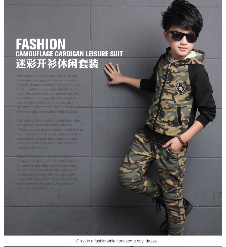 ФОТО kids baby clothes dress boy girl Kids Boys new autumn children two piece boy zipper cardigan hooded camouflage suit