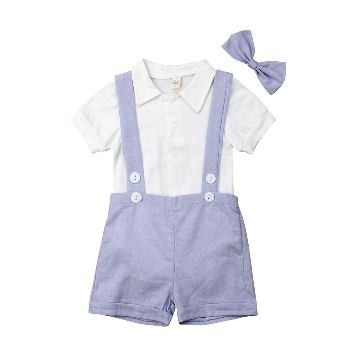 0-24 M Baby Jungen Gentleman Kleidung Sommer Kurzarm Shirt Romper + Bib Hosen Outfit Eine GroßE Auswahl An Farben Und Designs